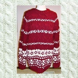 Limited Oversized Red and White Sweater